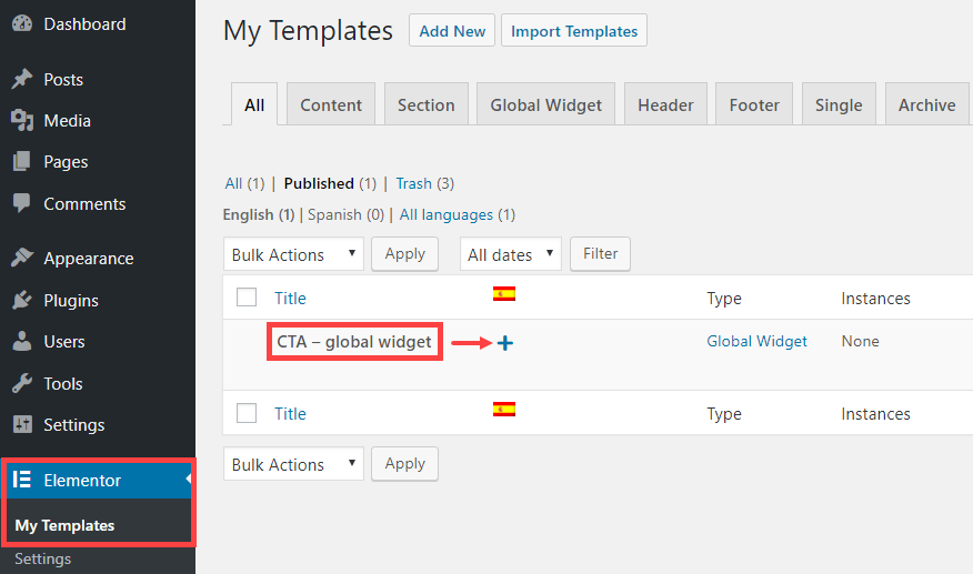 Translating a global Elementor widget