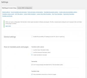 Multilingual content setup page