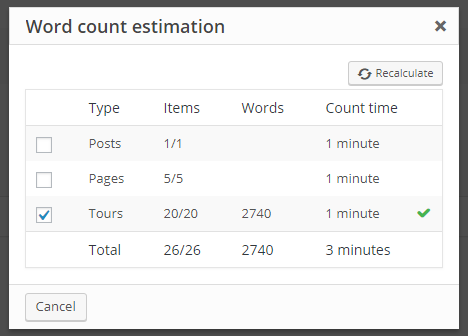 Word count estimation pop-up for whole post types