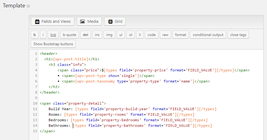 You can use any custom HTML markup to design the template