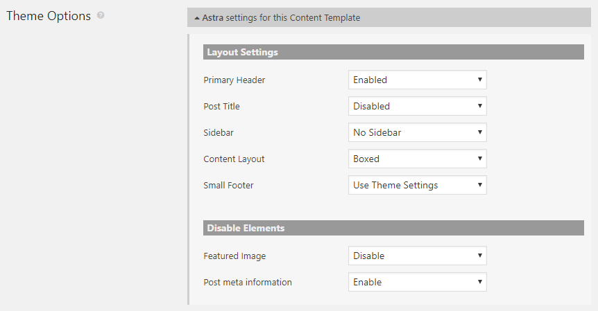 Theme options when designing a template on a site that uses the Astra theme