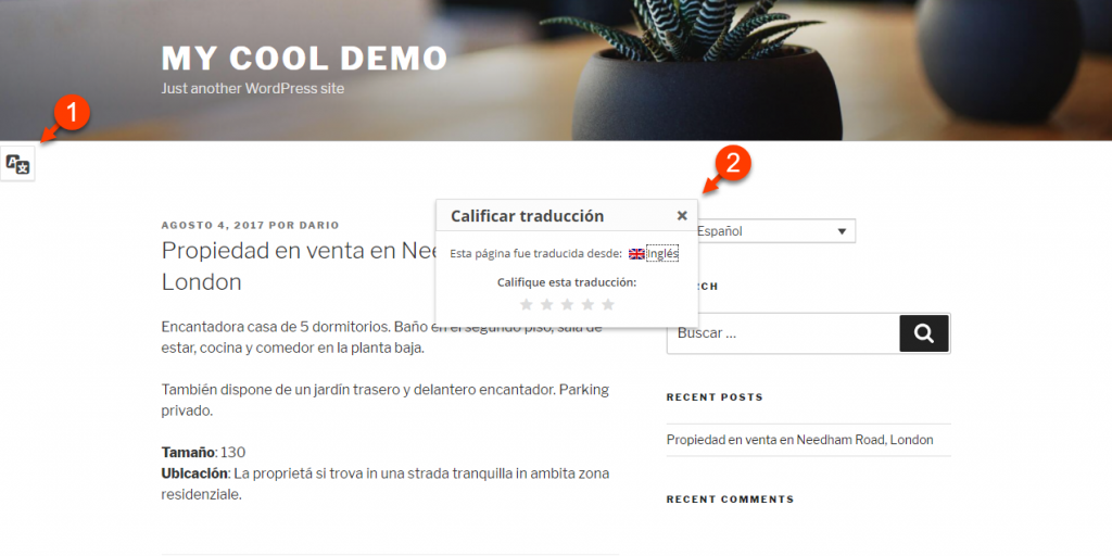 When translation feedback is enabled, visitors can leave feedback regarding the translated content