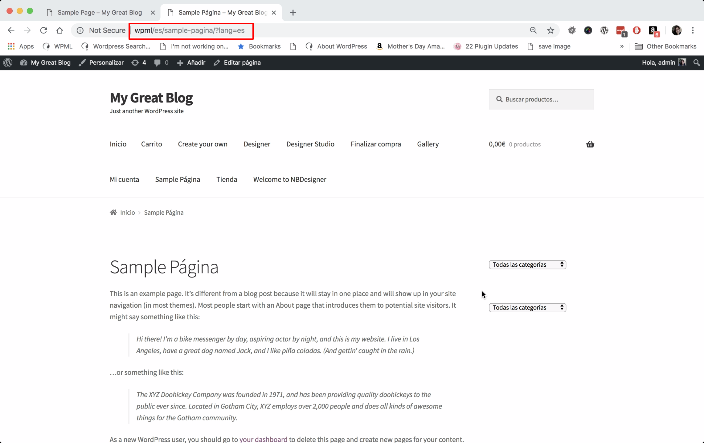 Blank page when using directory option for lang and URL includes