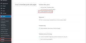Enabling manual translation in WPML settings