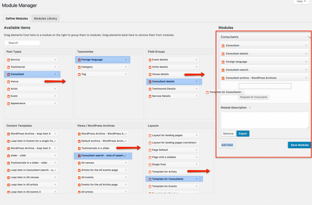 Module Manager - you can create your own modules and reuse post types and custom fields on different WordPress sites