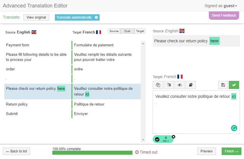 Machine translation feature in the WPML Advanced Translation Editor
