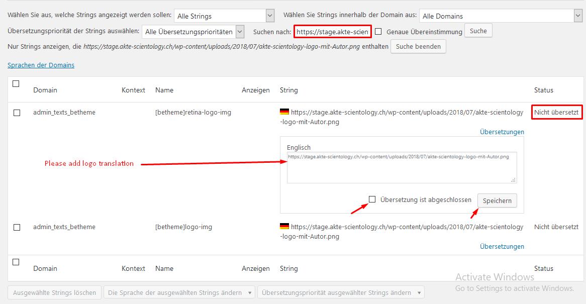 How to translate logo and menu in Betheme - WPML