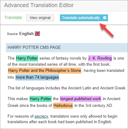 The button for auto-translating the whole page