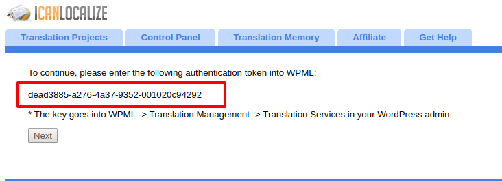 Receive the authentication key from the translation service