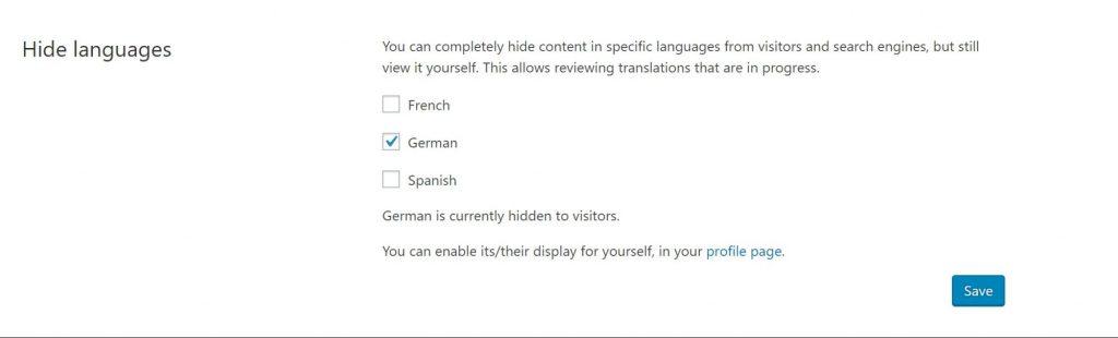 Hide languages section