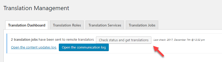 Manually checking the translation status and getting the translations