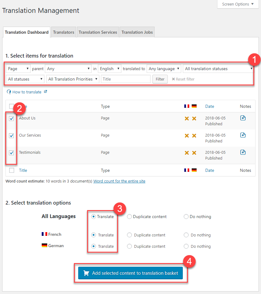Sending pages for translation using the Translation Management Dashboard