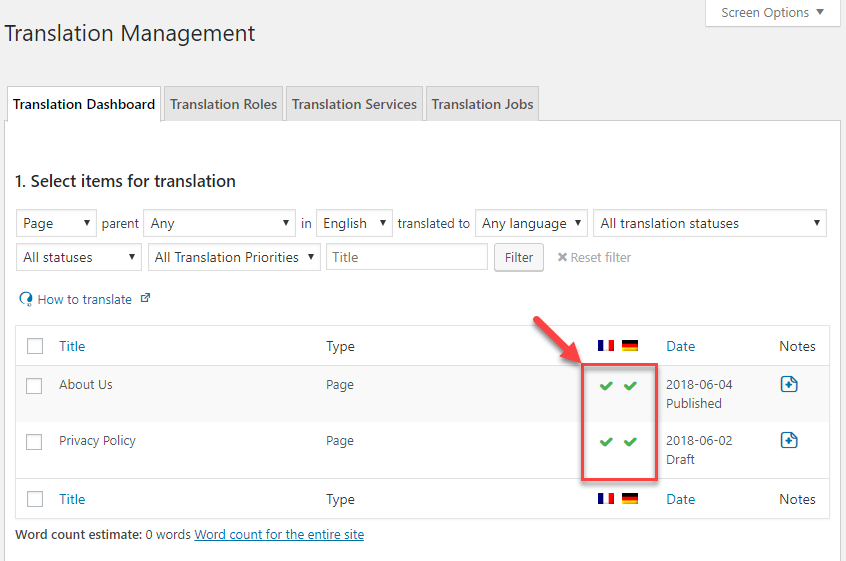 Translated content is marked with a green check icon