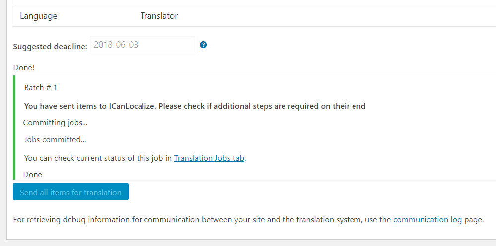 Translation Basket confirmation about sending contents for translation
