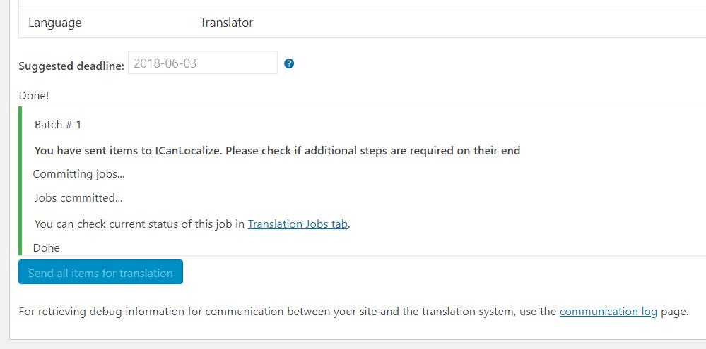 Translation Basket confirmation about sending contents for translation