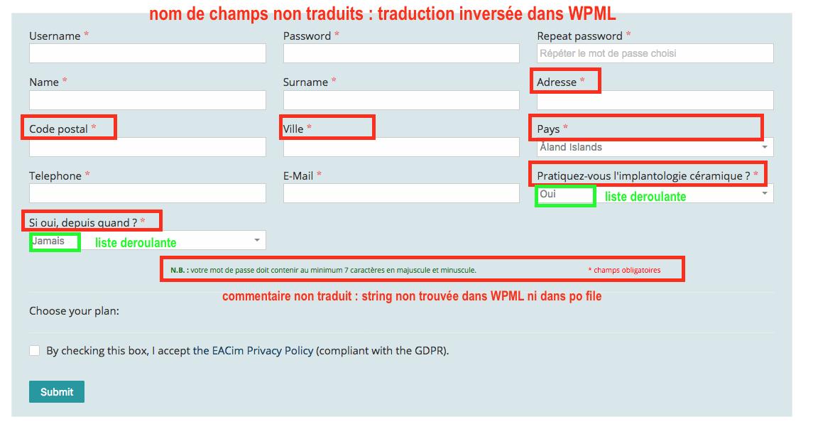 Champs Et Chaines Non Traduisibles Sur Private Content Plugin