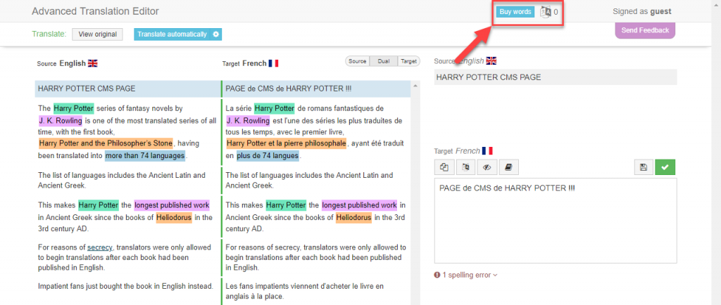 Buy Words button within Advanced Translation Editor
