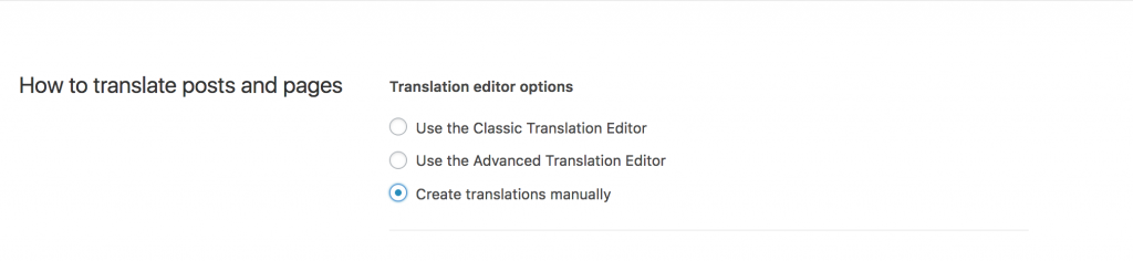 Selecting to create translations manually