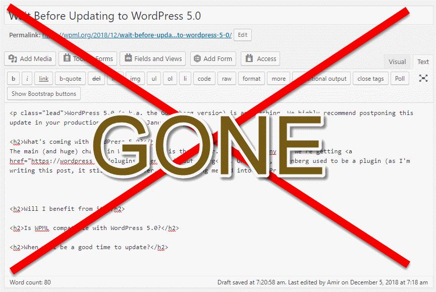Wait Before Updating to WordPress 5 0 - WPML