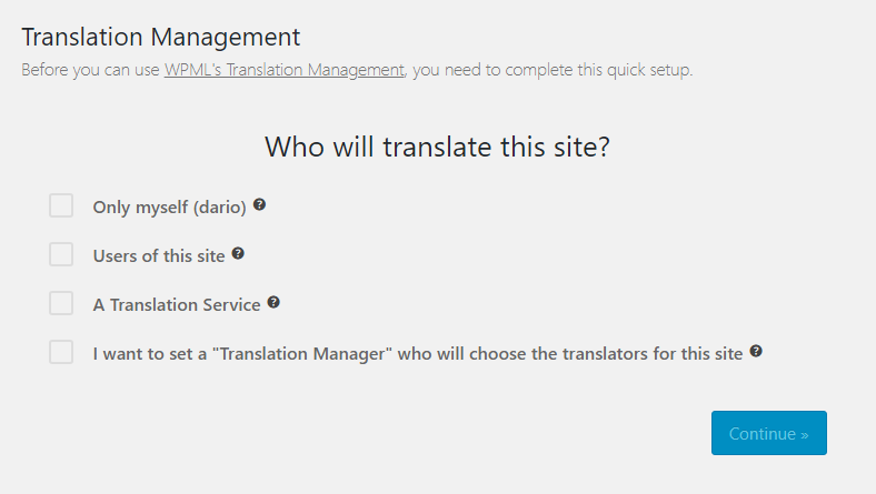 The new Translation Management setup wizard