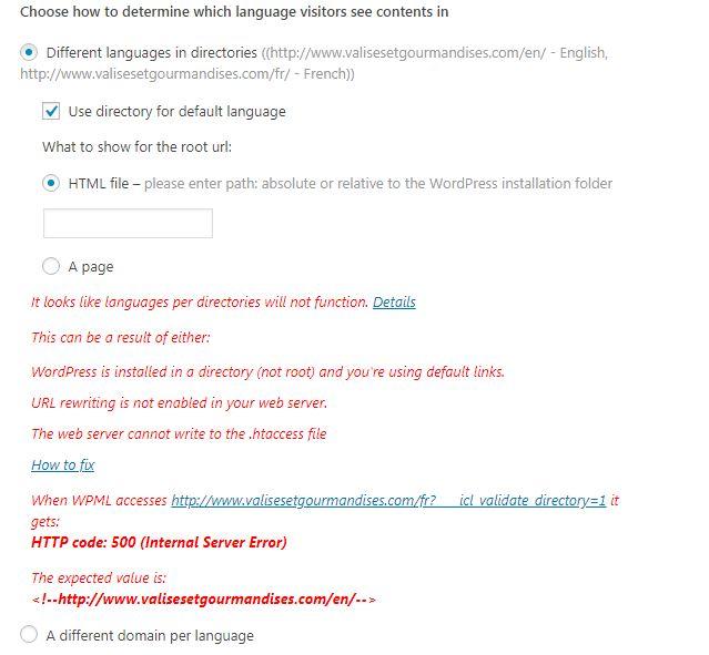Site shows 500 internal server error - WPML