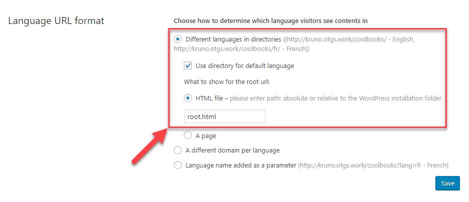 Directory for default language