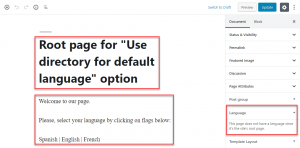 WordPress root page example when using Block editor
