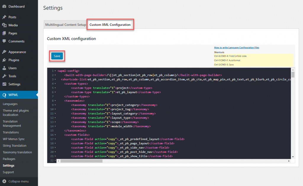 Add the updated file to the Custom XML configuration and Save