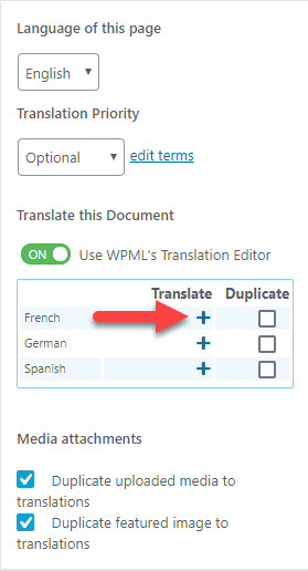 Click on the plus icon to translate the page