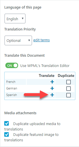 Click the plus icon to translate the page