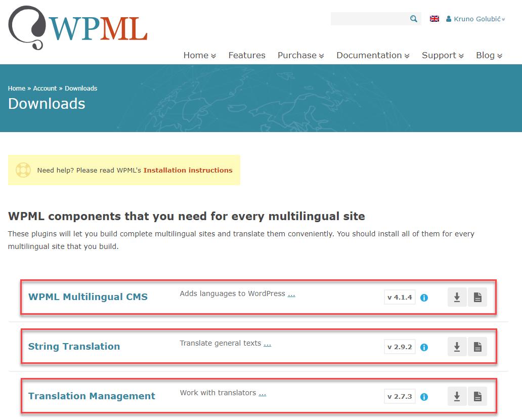 WPML Downloads Page