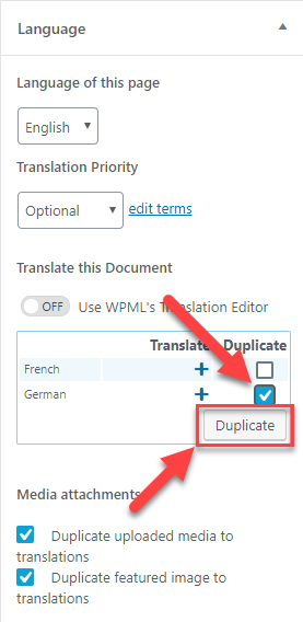 Tick the checkbox and click on the Duplicate button