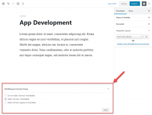 Convertir en traducible un tipo de entrada personalizada al editar una entrada personalizada con el editor Block
