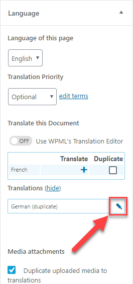 Click on the pencil icon to add the translation