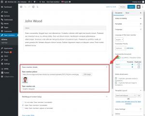 """Campos personalizados ao editar um tipo de post personalizado de """"Membros da equipe"""" com o editor de blocos"""