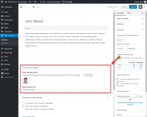 "Custom fields when editing a ""Team members"" custom post type when using Block editor"