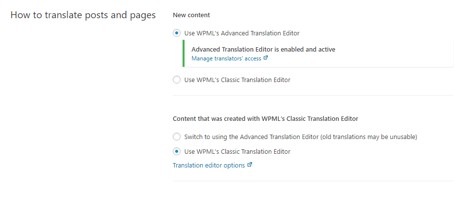 Translation Editor options on the WPML Settings page