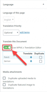 Use WPML's Translation Editor switch