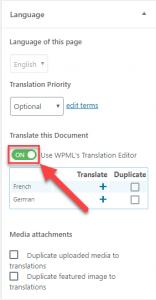 Use WPML's Translation Editor switch