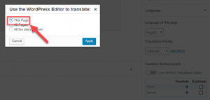 Use the WordPress Editor to translate dialog box