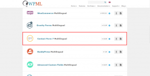 """Contact Form 7 Multilingual add-on on the WPML """"Downloads"""" page."""