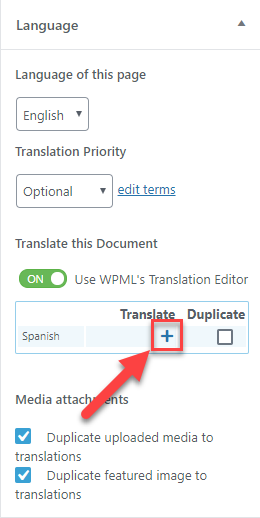 Click the + icon to translate the organizers listing page