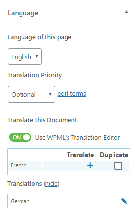 WPML Language box when editing a page