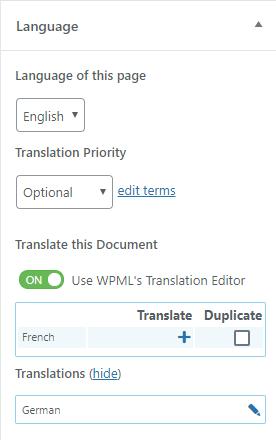 WPML Language box when editing a page