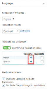 Controls to start translating a page