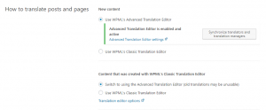 Selecting the translation editor for existing sites