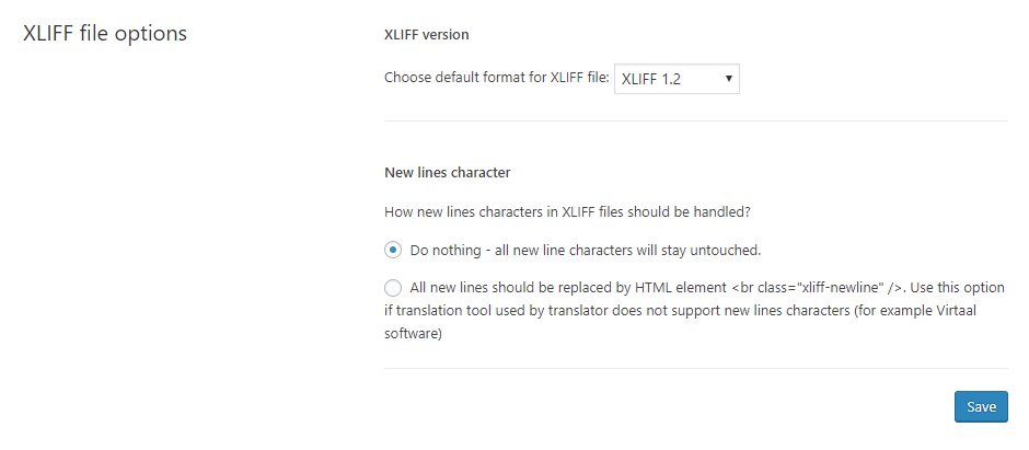XLIFF file options