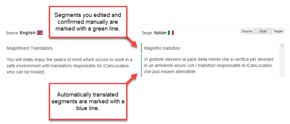 Segments translated automatically are marked blue while segments confirmed manually are marked green