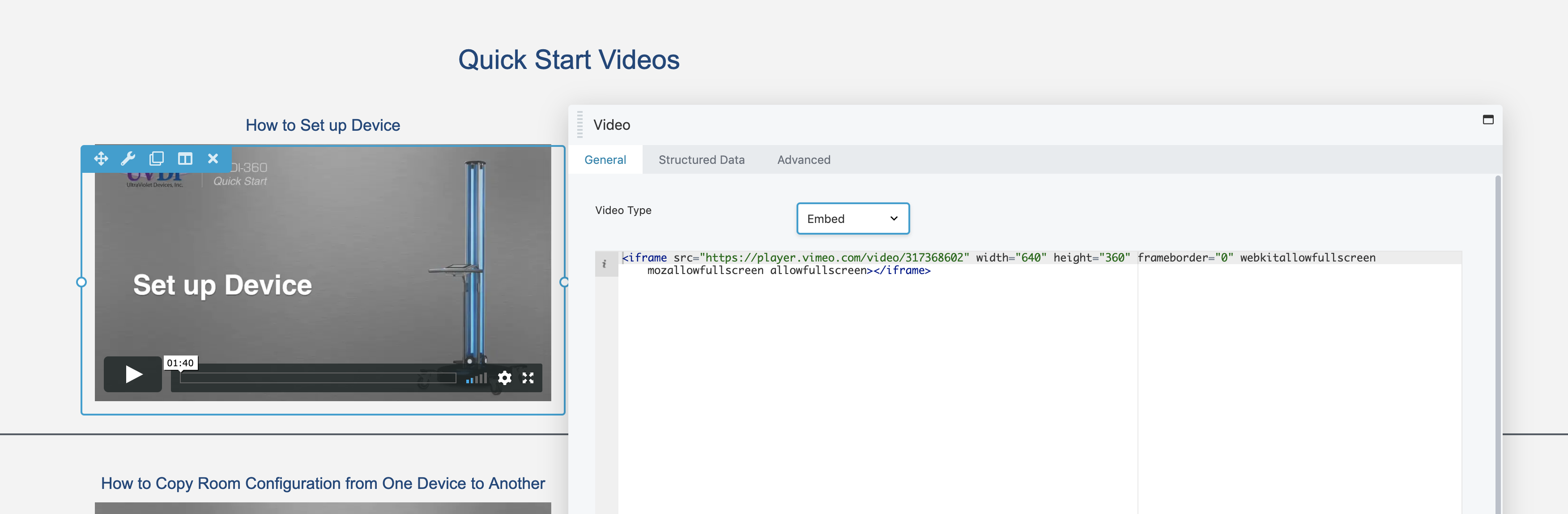 crashes when i replace video vimeo code for JA video in Beaver