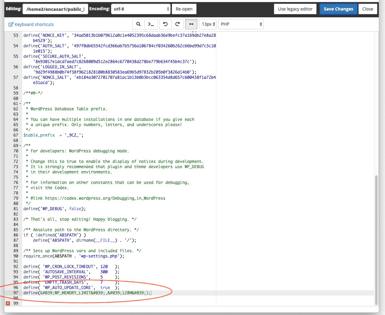 1. Inserting line of code to WP-config.png